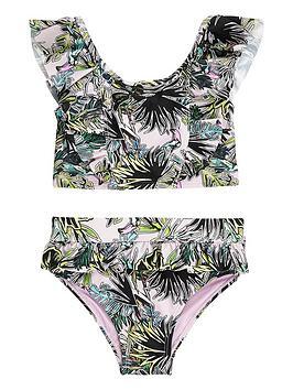 River Island Mini River Island Mini Mini Girls Palm Print Frill Bikini  ... Picture