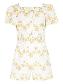 River Island River Island Girls Broderie Puff Sleeve Playsuit -White Picture