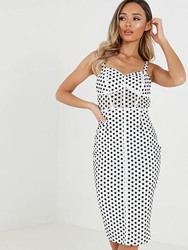 Quiz Quiz Polka Dot Corset Detail Strappy Midi Dress - Black/White Picture