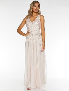 Quiz Quiz Quiz Sequin Mesh Embellished Sleeveless Maxi Dress - Blush Picture
