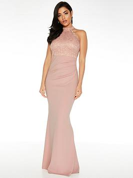 Quiz Quiz Quiz Scuba High Neck Lace Insert Maxi Dress - Blush Picture