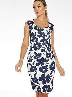 quiz-scuba-crepe-floral-sleeveless-sweetheart-ruche-midi-dress-navy-creamnbsp