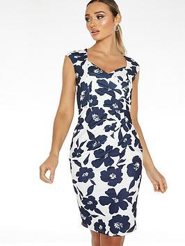 Quiz Quiz Scuba Crepe Floral Sleeveless Sweetheart Ruche Midi Dress - Navy  ... Picture