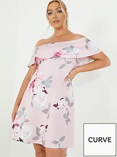 quiz-curve-floral-bardot-dip-hem-dress-blush