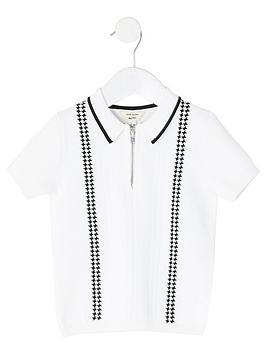 river-island-mini-boys-half-zip-polo-shirtnbsp--white