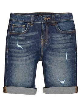 River Island River Island Boys Dylan Slim Fit Denim Shorts - Dark Blue Picture