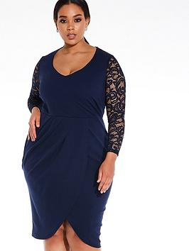 quiz-curve-lace-sleeve-midi-dress-navy