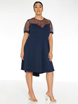 Quiz Curve Quiz Curve Dobby Mesh Dip Hem Dress - Navy Picture