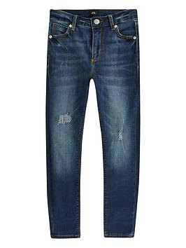 River Island River Island Boys Ollie Spray On Skinny Jeans-Dark Blue Picture