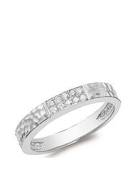 Love DIAMOND Love Diamond 9Ct White Gold Hammered Diamond Band Ring Picture