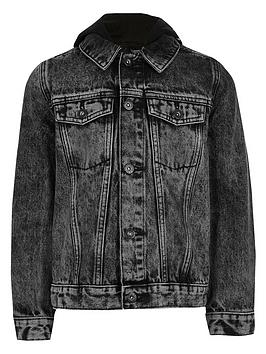 River Island River Island Boys Prolific Hooded Denim Jacket - Black Picture
