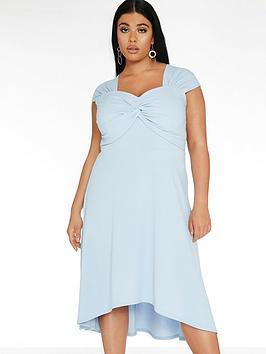 quiz-curve-knot-front-dip-hem-dress-pale-blue