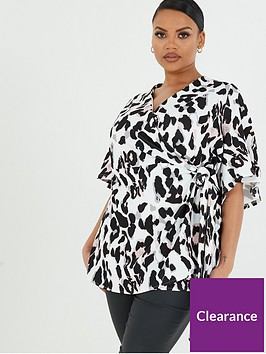 quiz-curve-leopard-wrap-top-creamblack