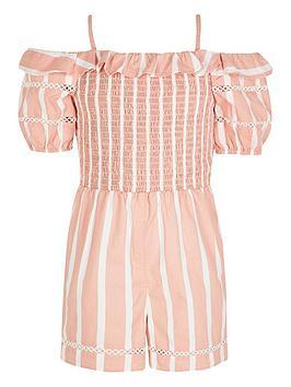 River Island River Island Girls Stripe Bardot Playsuit-Pink Picture