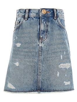 River Island River Island Girls Ripped A-Line Denim Skirt - Blue Picture