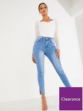 quiz-split-hem-skinny-jeans-denim