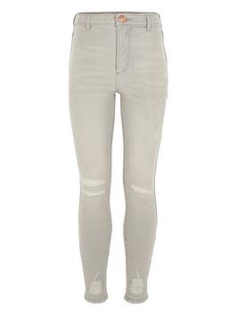 River Island River Island Girls Ripped Kaia High Rise Skinny Jeans-Grey Picture