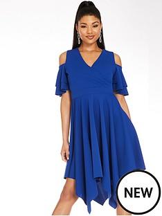 quiz-scuba-crepe-wrap-cold-shoulder-hanky-hem-dress-royal-blue