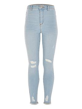 River Island River Island Girls Kaia High Rise Skinny Jeans-Light Blue Picture