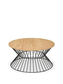 Julian Bowen Julian Bowen Jersey Round Wire Coffee Table - Oak  ... Picture