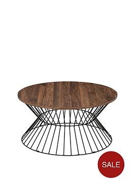 julian-bowen-jersey-round-wire-coffee-table-walnut-effectblack-metal