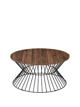 Julian Bowen Julian Bowen Jersey Round Wire Coffee Table - Walnut  ... Picture
