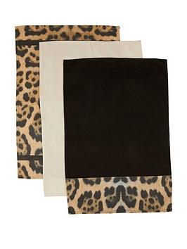 Product photograph showing Premier Housewares Leopard Tea Towels Ndash Set Of 3