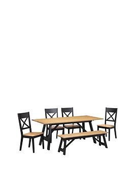 julian-bowen-hockleynbsp190-cmnbspdiningnbsptable-nbsp1-bench-4-chairs