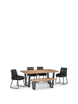 Julian Bowen Julian Bowen Brooklyn 180 Cm Dining Table + 4 Soho Chairs +  ... Picture