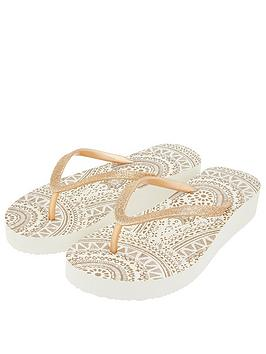 Accessorize   Eva Wedge Flip Flops - Gold