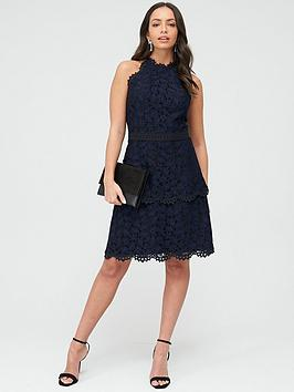 WHISTLES Whistles Halter Neck Talie Lace Dress - Black Picture