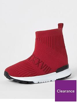river-island-mini-mini-boys-knitted-hi--tip-trainers-red