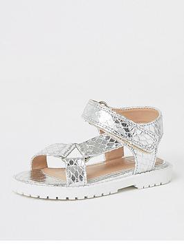 river-island-mini-girls-velcro-chunky-sandals--nbspsilver