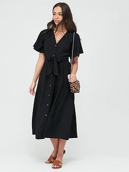 WHISTLES Whistles Anita Frill Sleeve Dress - Black Picture
