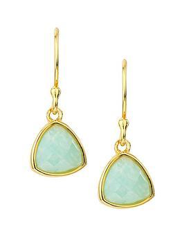 Love Gem Gold Plated Sterling Silver Amazonite Drop Hook Earrings