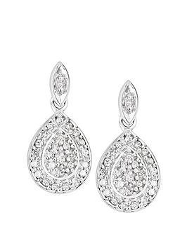 Love DIAMOND Love Diamond 9Ct White Gold 0.08Ct Diamond Pear Drop Stud  ... Picture