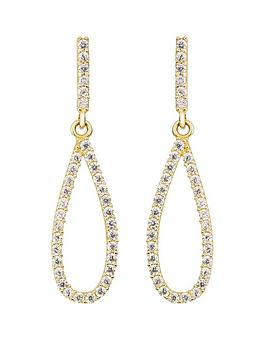 Love GOLD Love Gold 9Ct Yellow Gold White Cubic Zirconia Teardrop Stud  ... Picture
