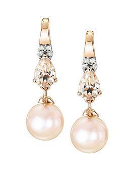 Love GEM Love Gem 9Ct Rose Gold Pink Pearl Morganite And Diamond Earrings Picture
