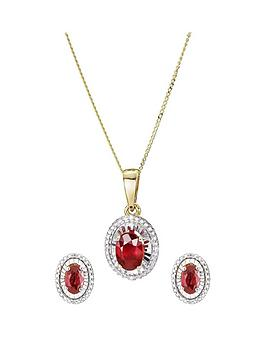 Love GEM Love Gem 9Ct Yellow Gold Treated Ruby & Diamond Jewellery Set Picture