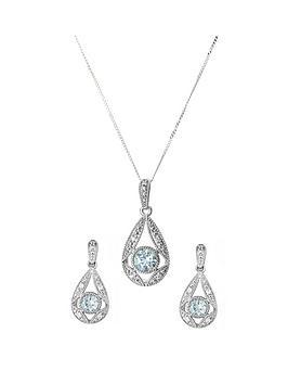 Love GEM Love Gem 9Ct White Gold Sky Blue Topaz & Diamond Pendant Picture