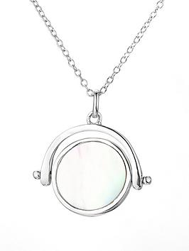 Love Pearl Rhodium Plated Sterling Silver Mother Of Pearl Spinner Pendant Necklace