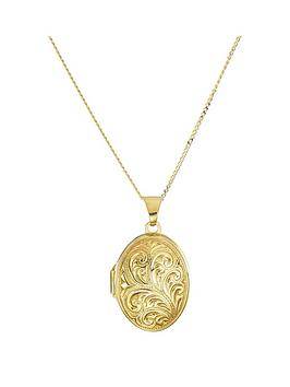 love-gold-9ct-yellow-gold-oval-scroll-locket-pendant-on-18-inch-mini-curb-chain