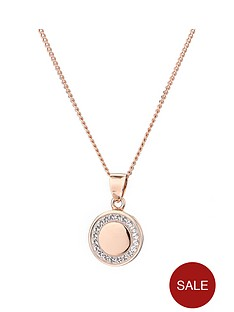 evoke-evoke-rose-gold-plated-stelring-silver-swarovski-crystals-97mm-round-pendant-necklace