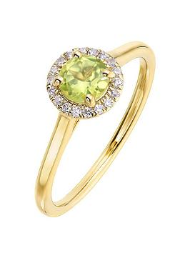 Love GEM Love Gem 9Ct Yellow Gold 5Mm Round Peridot And 0.08Ct Diamond  ... Picture