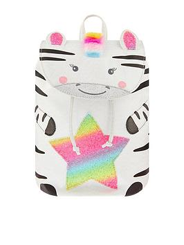 Accessorize Accessorize Girls Zoe Zebra Rainbow Backpack - White Picture