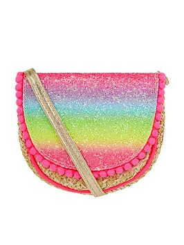 Accessorize Accessorize Girls Rainbow Glitter Faux Straw Cross Body Bag -  ... Picture