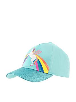 Accessorize Accessorize Girls Retro Unicorn Baseball Hat - Aqua Picture