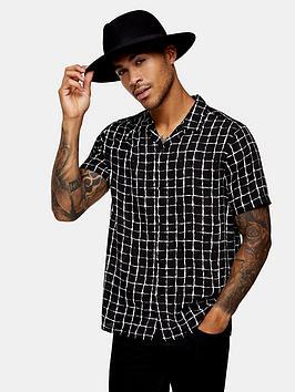 Topman Topman Check Revere Shirt - Black Picture