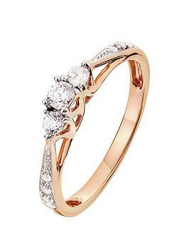 Love DIAMOND Love Diamond 9Ct Rose Gold 0.25Ct Three-Stone Diamond Ring  ... Picture