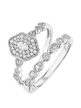 Love DIAMOND Love Diamond 9Ct White Gold Diamond Ring Bridal Set Picture